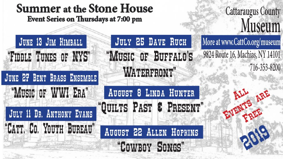 Summer at the Stone House 2019 Schedule of Performers