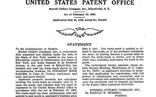 Burrell Cutlery Company Patent for trade-mark