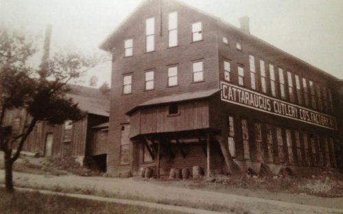 Side view of the Cattaraugus Cultery Factory in Little Valley, NY