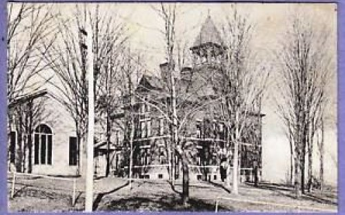 1908 view of the school and M. E. Church