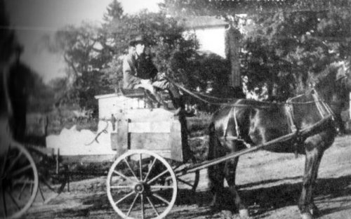 Ice Wagon on road in Town of Machias