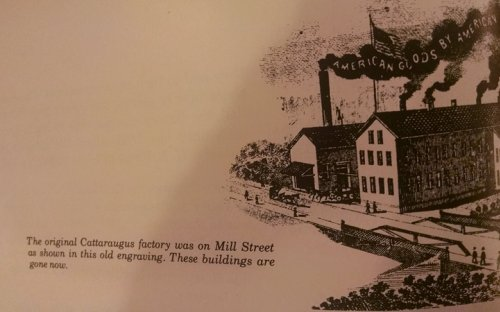 engraving of original factory on Mill Street portraying landscaping as flat which it is not