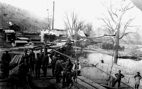 Raft on the Allegany River before the lumber was loaded