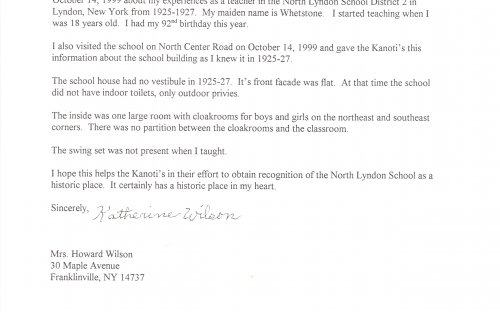 Letter from Former Teacher at North Lyndon School, Mrs. Katherine Wilson