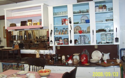 A kitchen display at the Leon Historical Society Museum