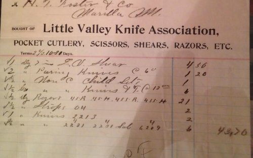 Ledger from the Little Valley Knife Association