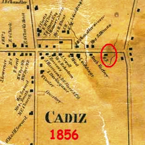 Map of William White's home in Cadiz, NY