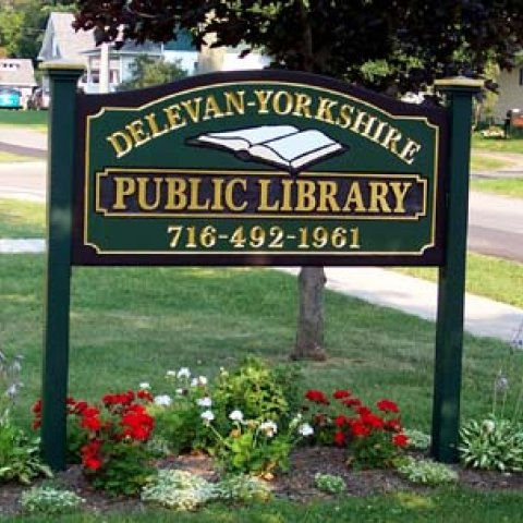 Delevan Yorkshire Library sign