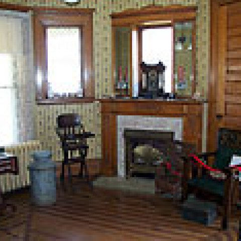 Miner's Cabin interior fireplace
