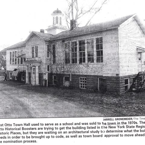 Article about plans to restore the East Otto Town Hall/School and applying to the historic register